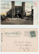 Salem in Massachusettes, Boston a.Maine Depot, railroad station with train 1907