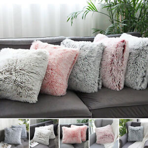 Fluffy Shaggy Cozy Cushion Cover Soft Sofa Pillow Case Bed Plush Ornament