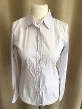 EINHORN elegante Bluse weiß/grau gestreift stretch Größe 38