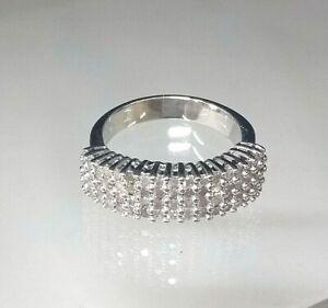 Vintage 9ct White Gold 1carat Diamond Cluster Statement Ring Stunning!  Size M
