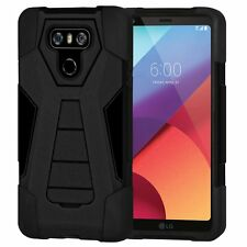 AMZER Dual Layer Hybrid Rugged Shockproof Case With Kickstand LG G6 G6+ - Black