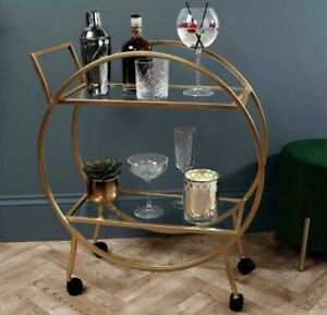 New Large Round Drinks Trolley In Antique Gold 2 Tier Cocktail Bar No Reserve