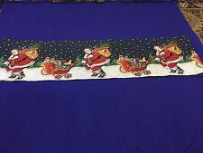 Vintage Tapestry Christmas Santa and Sleigh Table Runner Free Shipping
