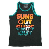 Mens Grey Heather Suns Out Guns Out Sunset Graphic Tank Top