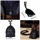Buddha Black Obsidian Hand-Carved Lucky Amulet Natural Necklace Pendant + Beads