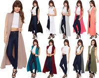 New Womens Long Maxi Open Sleeveless Top Jacket Collar Plain Ladies Cardigan8-26