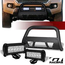 For 2016-2020 Toyota Tacoma Matte Blk Studded Mesh Bull Bar+36W CREE LED Lights