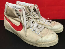 Vtg 1980's Nike Canvas Hi Blazer High Top Shoes 3 Pointer 1981 Red Swoosh sz 13