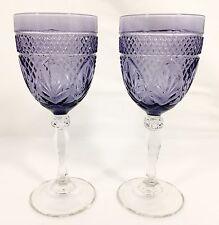 2 Cristal D'Arques Durand Antique Amethyst Purple Goblet Fan Diamond Set NICE!