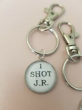 I Shot JR Famous Line Dallas TV 80s American Show Keyring Bag Charm Gift Tag