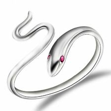 925 Silver Plt Adjustable Open Snake Ring Thumb Wrap Serpent Red Eyes Coil D
