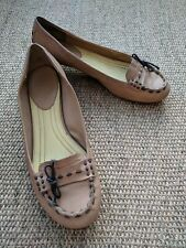 NINE WEST Beige/Tan Leather Lace Bow, Low Heel Slip on Shoes - Size UK 5 EU 37