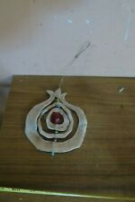 Judaica Jewish Wall Hanging POMEGRANATE Shaped Silver Plated Red Glass Bead