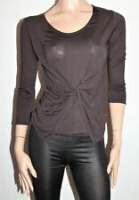 Rockmans Brand Chocolate 3/4 Sleeve Twist Front Top Size XS BNWT #SX75