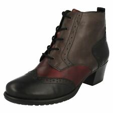 REMONTE LADIES LEATHER ZIP UP MID HEEL BROGUE CASUAL WOMENS ANKLE BOOTS D3180