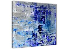 Indigo Blue Grey Abstract Painting Wall Art Print Canvas - 49cm Square - 1s358s