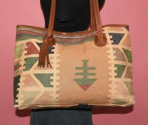 Vtg Woven WOOL SOUTHWESTERN Brown Leather Large Tote Shoulder Purse Bag Boho