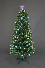 5ft Fibre Optic Christmas Tree Pre-Lit Stars Baubles Decorations Xmas Home 150cm