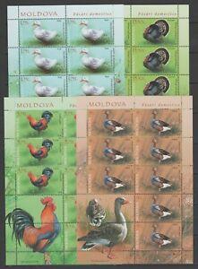 Moldova 2018 Birds Domestic Poultry 4 MNH Full sheets
