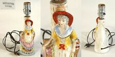 TABLE LAMP HAND PAINTED, JAPAN, WOMAN IN HAT