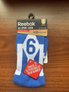 REEBOK Player ID Youth Sz S (13-4) Crew Single Sock Blue aegis Antimicrobial