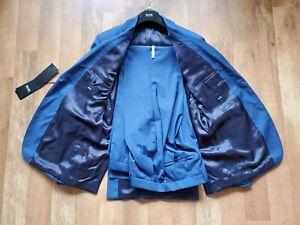 HUGO BOSS x REDA  40 R pants 34 blue two piece suit Italian Fabric RECENT $795