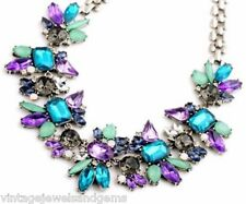 BLUE GREEN PURPLE SILVER Chunky Crystal Rhinestone Choker Bib Statement Necklace