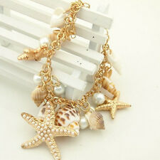 Women Sea Shell Starfish Faux Pearl Pendant Bracelet Bangle Jewelry Gift Healthy