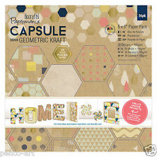 "Docrafts 6x6"" Scrapbooking Papers 36 sheet pack 160gsm Geometric Kraft Paper"