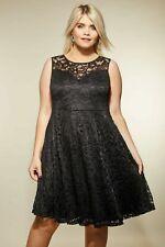Kleid Gr.50+52 Abendkleid Damen Schwarz Knielang Cocktailkleid Stretch festlich