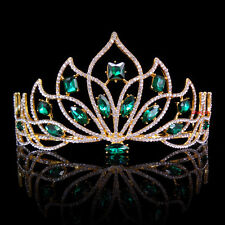8cm High Adult Big Green Golden Full Crystal Tiara Crown Wedding Pageant Prom