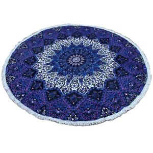 Bohemian Mandala Beach Towel Round Tapestry Blanket Bedspread Yoga Throw