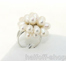 Charm White Freshwater Cultured Pearl Gemstone Bead Ring adjustable