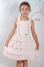 Girls Floral Party Dress in Pink Cream 2 3 4 5 Years K08