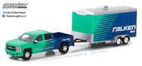 Greenlight 1:64 Hitch Tow 11 2015 Chevrolet Silverado and Enclosed Car Hauler