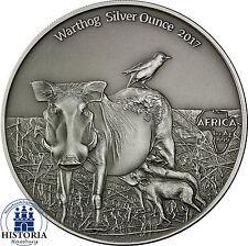 Africa Serie: Kamerun 1000 Francs 2017 Antique Finish Warthog Silver Ounce