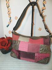 COACH F12865 HOLIDAY PATCHWORK CONVERTIBLE CROSS BODY SHOUDLER BAG - XL - GUC