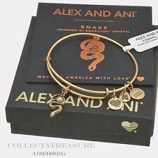 Authentic Alex and Ani Snake with Crystal Rafaelian Gold Charm Bangle