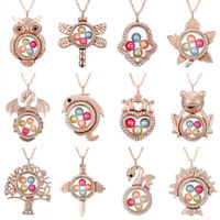 Rose Gold Living Memory Floating Locket Family Charm Pearl Cage Pendant Necklace