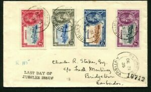 1935 Silver Jubilee Antigua set on Last Day cover to Barbados
