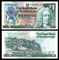 Scotland Royal Bank, 1 pound, 1992, P-356, UNC, Commemorative, European Summit