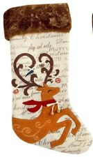 """Country Primitive Chic Reindeer Christmas Stocking w. Faux Fur Cuff 20"""""""