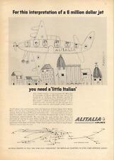"1962 Alitalia Airlines PRINT AD a ""little Itaian"" kid's pic of jet fun kid decor"