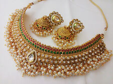 Indian Fashion Jewelry Choker Necklace Earing bollywood ethnic traditional Set