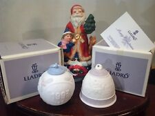 Vtg Lladro Christmas Tree Bisque Porcelain Ornaments & Music Box Circa 1993
