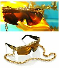ANNA DELLO RUSSO AdR LARGE BAROQUE LEAF CHAIN SUNGLASSES in BOX NEW