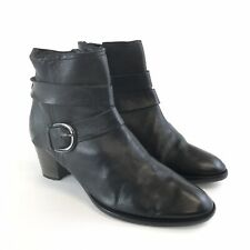 Nic Dean 39.5  UK6.5 Black Leather Ankle Zip Buckle Block Heels Festival Boots