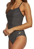 SPEEDO Print Y Back Striped Black White Yellow Swim Suit Womens 4 30 6 32 8 34