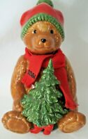 Vintage Schmid 1984 Teddy Bear in Hat Scarf  Oh Tannenbaum Music Box Works GUC