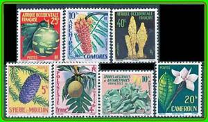 FRENCH COLONIES 1958-59 FLOWERS & FRUITS x7 MNH STAMPS (JOINT ISSUES)